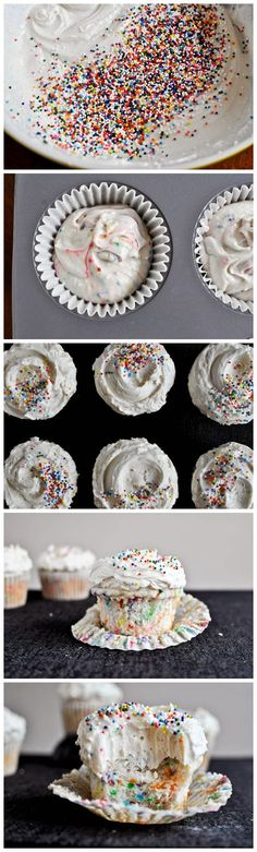Recipe for Homemade Funfetti Cupcakes with Vanilla Buttercream Frosting