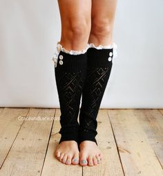 The Lacey Lou Black Open-work Leg Warmers with Ivory knit Lace trim & buttons - Legwarmers boot socks (item no. 3-2). $34.00, via Etsy.