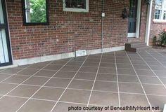 backyard patio, back patio, tile, stained concrete, stain concrete, painting concrete, concrete floors, porch, concret patio