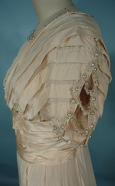 c. 1909 Ivory Silk Crepe Edwardian Wedding Gown with Fringe and Pearl Ornaments!  Worn by Grace Browne (Falck), 13 Florence Street, Hartford, CT, Married in 1909, 21 Years Old, Born in 1888. Detail
