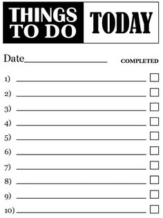 To Do: Print Out To-Do List