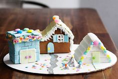 Gingerbread houses using gum from All for the Memories