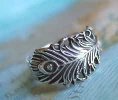 #coolsilverjewelry Lucky Peacock Feather Ring Oxidized Fine Silver by HappyGoLicky, $60.00