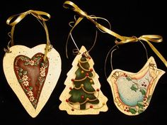 Shabby Chic Inspired Hand-Painted Wood Ornaments