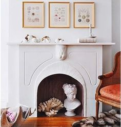 sculpture in fireplace