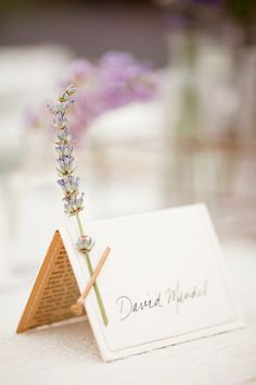 #DBBridalStyle place card with lavender and book page underneath