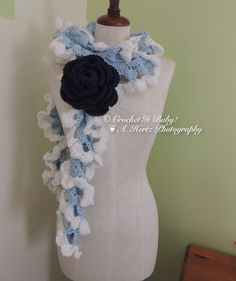 The Donna Rose Crochet Scarf with Rose Pin by CrochetItBaby, $4.50