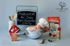Baby White Chef Hat Crochet Newborn NB by WarmFuzzyBoutique
