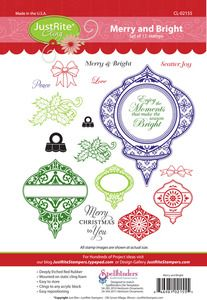 Just Rite MERRY AND BRIGHT Cling Rubber Stamps CL-02155