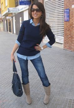 Business casual work outfit: Navy sweater, chambray top, skinny jeans. I'd wear brown boots with this outfit.