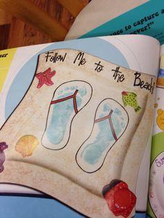 project, handprint idea, beach footprint, flip flop footprint, kiddo, summer footprint art