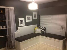 Banquette diy kitchen seating dining room table upholster black and white bench seating