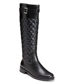 Loving this Black Quilted High Ride Wide-Calf Boot on #zulily! #zulilyfinds