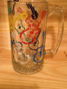 Guitars Hand Painted Beer Mug by brandiedmonds on Etsy, $25.00