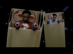 "Troy and Abed's movie trailer. ""In the future... two cardboard boxes... are about to become... spaceships!"""