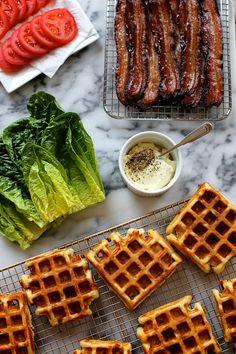 Cheddar Buttermilk Waffle BLT by joy the baker