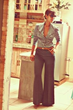 wide leg trousers and gingham shirt
