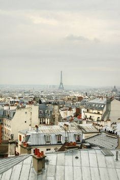 View of the Eiffel Tower over rooftops... oui oui!