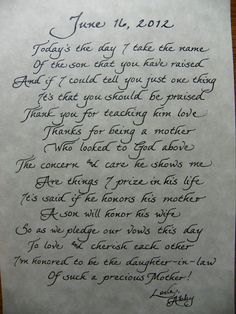 The Personal Touch: Mother In Law Poem Great Gift Idea! how very sweet!