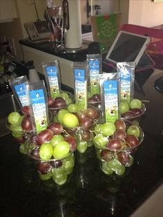 Cute pool snack idea! Colorful grapes in a clear cup w/a cheese stick stuck inside. Cheap, easy, and cute- my faves!