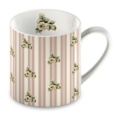 Katie Alice Fine China Cottage Flower Pink Stripe Mug