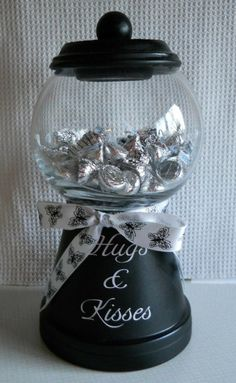 Candy Machine - terra cotta pots and dollar store bowl.. How cute is this!