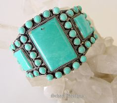 Kirk Smith Turquoise Cluster Cuff Bracelet | Signed Native American Jewelry