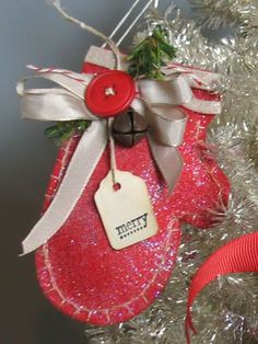 mitten ornament, christma mitten, front doors, gift cards, gift tags