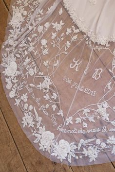 Embroidered, monogrammed, personalised wedding veil | Pin discovered by Kelly's Closet bridal boutique in Atlanta, Georgia