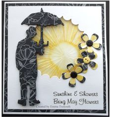 Sunshine & Showers using tim holtz umbrella man die, embossed acetate coloured with alcohol inks.