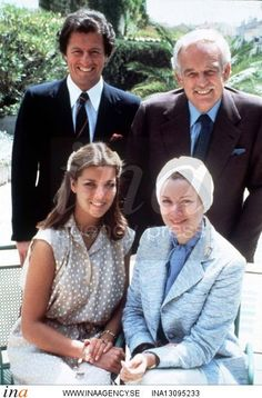 Princess Caroline with her parents, Grace and Rainier of Monaco, and her fiance, Philippe Junot. Portrait by Howell Conant. 1977.
