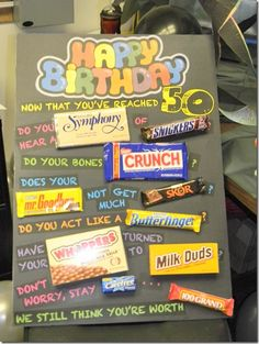 my best friend turns 50.  in 2 months. going to do something fun like this for her. 50th Birthday Gift Ideas - DIY Crafty Projects candy cards, happy birthdays, gift ideas, candi, 40th birthday, 50th birthday, mason jars, birthday ideas, birthday gifts