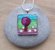 Pendant Felt Landscape with Sheep and by Aileen Clarke of AileenClarkeCrafts on ETSY