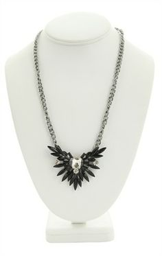 Deb Shops Short Necklace with Spiked Stone Design $8.17