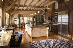 timber frame home kitchen scene