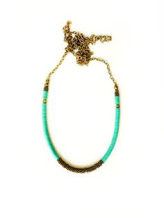 Green brass necklace on Etsy, $39.00