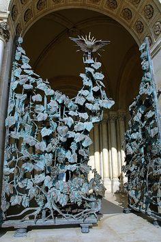 wrought iron gate crafted in morning glory vines - Székesegyház (Pécs)-Hungary