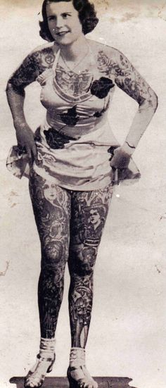 """Betty Broadbent was born in Zellwood, Florida  in 1909 and was made famous by traveling with the Ringling Brothers and Cole Brothers circuses as """"The Youngest Tattooed Woman in The World."""" Betty Broadbent was one of the most famous tattooed women in the world"""