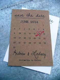 Calendrier enregistrer la date des cartes Simple Save the | Etsy