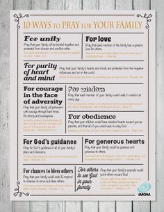 10 Ways to Pray for Your Family | iMOM...with links to 10 ways to pray for teen, child, husband, and mom