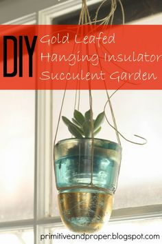 DIY Gold Leafed Hanging Insulator Succulent Garden by Primitive & Proper for Tatertots and Jello #DIY #Spring