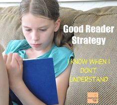 Good readers know when they don't understand. The most important strategy young readers need!!