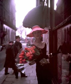 ... paris, suzi parker, suzy parker, georg dambier, tulip, spring collection, pink, flower, hat
