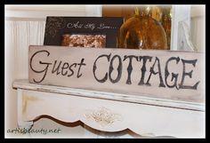 "ART IS BEAUTY: Knock off Pottery Barn ""guest cottage"" sign Copy Cat challenge.http://arttisbeauty.blogspot.com/2012/07/knock-off-pottery-barn-guest-cottage.html"