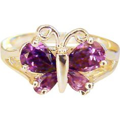 Vintage Size 7 Sterling Silver Purple Butterfly Ring