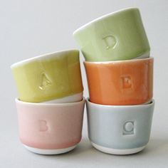 wee tea cup  with custom letters