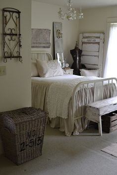 Charming French Country Farmhouse Style Bedroom Oh my GOSH I love this. I have a wrought iron bed but it's black. Thinking about painting it white? rustic bedrooms, bedroom decor, guest bedrooms, french country, wrought iron, farmhouse style, country farmhouse, cottage bedrooms, bedroom designs