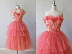 Coral Tiered Lace & Tulle Prom Dress