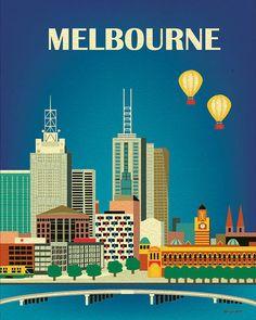 Melbourne, Australia Vertical Skyline - 8 x 10 City Wall Art Poster