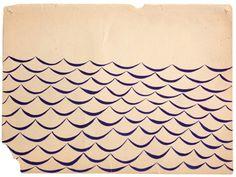 margaret kilgallen, patterns, waves, acrylics, art, sea, papers, san francisco, print